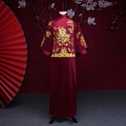 chinesische männer traditionelle kostüme Rabatt Neue Ankunft männlichen Cheongsam chinesischen Stil Kostüm der Bräutigam Kleid Jacke langes Kleid traditionelle chinesische Hochzeitskleid Männer
