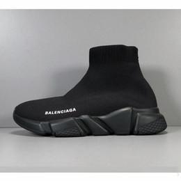 Wholesale Balenciaga Calcetines de diseñador zapatos moda hombre mujer zapatillas de deporte entrenador de velocidad negro blanco azul rosado brillo para hombre entrenadores zapato casual