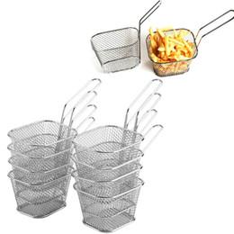 Bratkörbe online-8Pcs Mini Fry Baskets Edelstahl Fryer Siebkorbfilter Serving Essen Präsentation Kochen Französisch Fries Basket-Küche-Werkzeug