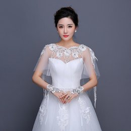 casacos de organza bolero nupcial Desconto Moda Branco De Cristal De Noiva Ver Através Do Laço Bolero Jaqueta De Casamento Xale De Renda Bolero Jaqueta De Noiva