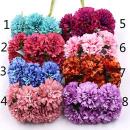 Gänseblümchen handwerk online-Ringelblume 6pcs / Bündel 3.5cm Minigänseblümchenblumenblumenstrauß künstliche Blumenhochzeitsdekoration diy Fertigkeitausgangsdekorationzusätze