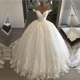 Vestidos de noiva de tule branco on-line-2019 plus size ombro Off Lace vestido de baile vestidos de casamento Vintage lantejoulas Branco Tulle Custom Made vestido de casamento ata acima para trás vestidos de noiva