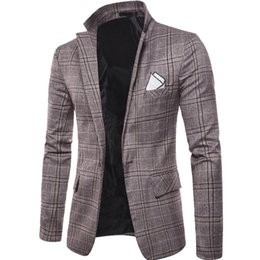 Куртка бизнес-класса онлайн-men classic vintage plaid blazers male mens suits notched collar formal suit jackets man bussiness suits blazer coats outwear