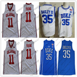 duke blue shirt Promo Codes - 2019 Cheap Lowest Price Duke Blue Devils #35 Bagley III Home Adult Jersey Oklahoma Sooners #11 Young White Mens Shirt Marvin Trae 3XL
