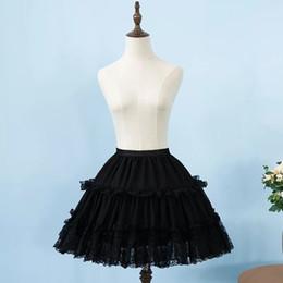 Короткая юбка петуха онлайн-2019 женщин шифон черный юбка рокабилли кринолин кружева аппликация короткие лолита юбка