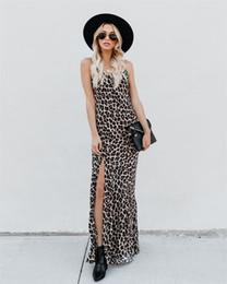 2019 vestido naranja vendaje amarillo 2019 Banquet Sling Estampado leopardo falda larga Vestido de mujer sexy dividida Longuette 8325 S-XL de guangzhou18