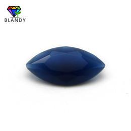 Perline di vetro tagliato online-Formato 1.5x3 ~ 8x16mm Marquise Shape Machine Cut Colore blu Perle di pietra di vetro Gemme sintetiche per gioielli