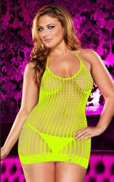 Meias brancas de nylon branco on-line-Mulheres Plus Size Sexy Underwear Lady Preto Crochet e Rendas Mini Vestido Atraente Fishnet Meias para As Mulheres Cor Branco Amarelo Preto Livre tamanho