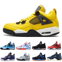 ea5f0e403bae74 4 4s Lightning Hot Lava Mens Basketball Shoes Kaws Travis Scotts Cactus Jack  Raptors Bred White Cement men sports sneakers designer trainers leather  jacks ...