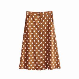 627cac5ff3 Falda con estampado de lunares vintage para mujer Corea moda damas midi falda  boho bolsillos faldas con botones rebajas faldas de moda corea