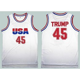 t-shirt donald Promotion Basketball Jersey Hommes 45 Donald Trump Dream Team Top T-shirt de basket-ball de Stitched blanc Vêtements XD21931