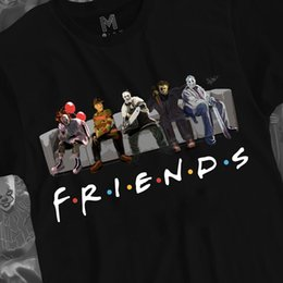 Magliette di film di halloween online-Horror Friends Shirt Horror Movies Regalo di Halloween T-shirt da uomo in cotone nero M-3XL Divertente spedizione gratuita Tee unisex