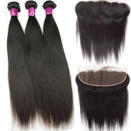 Pizzo vietnamita online-Bundle mongolo cambogiano vietnamita capelli lisci 3 bundles con frontale 13x4 pizzo svizzero non trasformati capelli umani vergini Weaves 12- 28 pollici