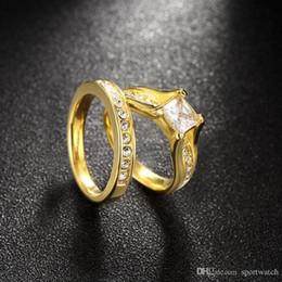 placas de amor Desconto Loves Banhado A Ouro Anel Set para As Mulheres De Aço Inoxidável Casamento Engagement Jóias Moda Titanium Aço Anel Jóias Frete Grátis