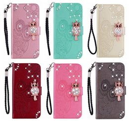 cute owl wallets Coupons - 3D Owl Bling Diamond Leather Wallet Case For Iphone 11 2019 XR XS MAX Galaxy Note 9 (J4 J6)2018 Imprint PU Flower Lace Cute Card Flip Cover