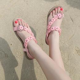 2019 nouvelle mode femmes été chaussures Bohême Diamond Flower couleur unie slip-on talons bas appartements plage lady sandales, plus la taille 42 ? partir de fabricateur
