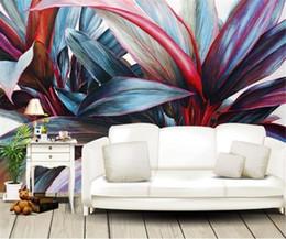 tropischen drucktapete Rabatt 3d Wallpaper Murals handgemalte Ölgemälde tropischen Regenwald Pflanze Bananenblatt Hintergrund Wandmalerei Tapete Digitaldruck wallpap