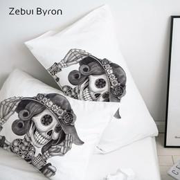 Taie d'oreiller en Ligne-Taie d'oreiller 3D HD personnalisé taie d'oreiller / 50x70 / 50x75 / 50x80 / 70x70 couvre-oreiller décoratif, dessin au crayon dame de crâne Literie, Drop Ship
