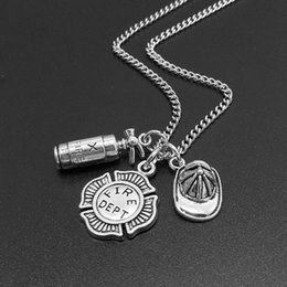 firefighter pendant Coupons - Unisex Fire Extinguisher Sign Shape Pendant Chain Necklace Firefighter Jewelry Gift