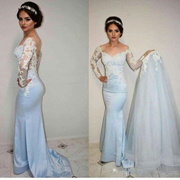Robes de soirée longues bleues en Ligne-Light Blue arabic Mermaid Evening Dresses With Detachable Overskirts romantic Lace See Through long sleeves tight formal prom dresses boho