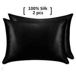 Almohadas saludables online-1 par de fundas de almohada de seda de morera 100% con cremallera oculta funda de almohada natural para reina estándar saludable envío gratis