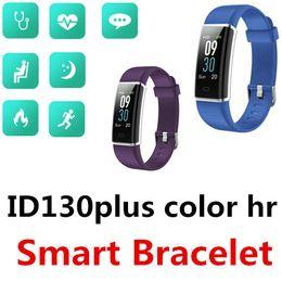 Сенсорный экран lcd цветной монитор онлайн-ID130 Plus Color HR Умный браслет Bluetooth Водонепроницаемый TFT ЖК-экран Мульти спортивный режим Мониторинг сердечного ритма сна Одно касание 50 пакетов