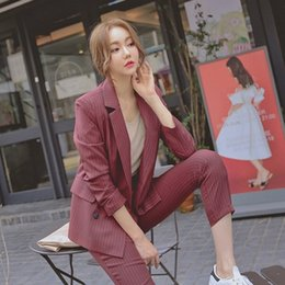 Полосатые женские куртки онлайн-2019 Work Fashion Pant Suits Women 2 Piece Set Double Breasted Striped Blazer Jacket Trouser Office Lady Suit