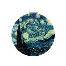 2019 imagem dobrada JWEIJIAO Famosas a noite Estrelada pinturas Fotos van gogh Espelho de vaidade em couro Redondo Dobrável Dupla Lados Espelhos de Maquiagem NS387 desconto imagem dobrada