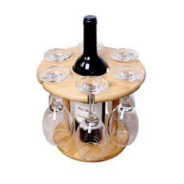 Portabicchieri porta vino online-Vendite calde Porta bicchiere da vino Portabottiglie da tavolo in bambù Bicchieri da vino Campeggio per 6 bicchieri e 1 bottiglia di vino