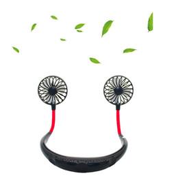 pás de ventilador elétrico Desconto Pendurado no pescoço fan Portátil USB Recarregável Pescoço Preguiçoso Pescoço Pendurado Dupla Refrigeração Mini Ventilador esporte 360 graus de rotação pendurado no pescoço do ventilador