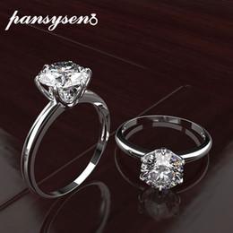 2020 женщины муассанит PANSYSEN топ бренд обручальное кольца для женщин 100% реальные 925 серебряные ювелирные изделия создан драгоценный камень муассанит кольцо изящных ювелирных изделий подарки дешево женщины муассанит