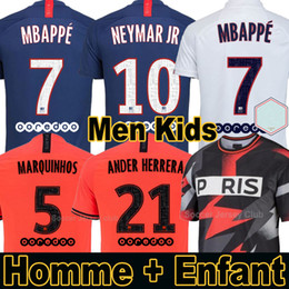 Kits para mulheres on-line-19 20 PSG camisas de futebol Paris Saint Germain NEYMAR JR MBAPPE SARABIA ANDER HERRERA CAVANI AIR JORDAN 2019 2020 goleiro campeões jersey homens mulheres crianças kits conjuntos