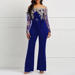 e08e1d6c2fc5 Off Shoulder Sexy Jumpsuit Women Wide Leg Pants Autumn Floral Lace Mesh  Sleeve Belt Skinny Elegant Fashion Blue Jumpsuits Female
