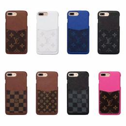 Cartes dures en Ligne-Luxe Avec fente pour carte Designer Phone Case pour iPhone X Xs Max XR 7 7plus 8 8plus 6 6s plus PU Cuir de téléphone portable Coque de protection arrière Coque dure