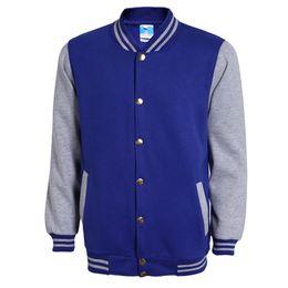 2019 chaqueta de béisbol del equipo universitario azul Classic Blue Varsity Baseball Jacket Men Veste Homme 2016 Otoño Marca de moda Slim Fit Bomber College Chaquetas Chaqueta de algodón 3Xl chaqueta de béisbol del equipo universitario azul baratos