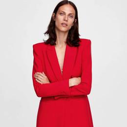 Rote damen blazer online-Doppelbrust Blazer Kleid Frauen Schwarz Lange Rote Büro Tragen Blazer Frauen Langen Mantel Gothic Rock Abrigos Mujer Damen Mäntel 5Q002