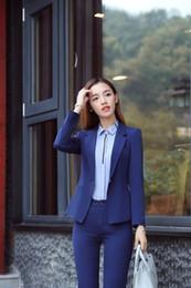 La Sra. Traje de negocios se adapta a los chalecos de primavera nuevo vestido de manga larga traje de la entrevista banco hotel uniformes abrigo desde fabricantes