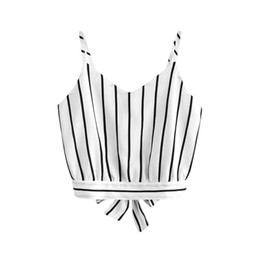 2019 Verão Mulheres Stripe Auto Tie Voltar V Neck Striped Colheita Preto Branco Cami Top Camisola Blusa Pius Tamanho Moda Verano Mujer C15 de