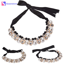 Rangée Réglable Bijoux les colliers Colliers Cadeau Bande Ruban Imitation Pearl