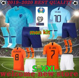 Canada Taille S-XXL 2019 European Cup Pays-Bas ADULTE Maillots de Football Hommes Kit 19 20 à domicile de DE JONG V.PERSIE VIRGIL Maillots de foot cheap european shirt sizes men Offre
