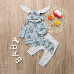 Manicotto lungo del coniglio del vestito online-Vestiti del bambino di moda Set 2PCs Ragazzi Ragazze Manica lunga Stampa del coniglio Top con cappuccio + Pantaloni Set Outfit ropa recien nacido