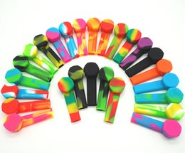 Cucchiai di silicone online-tubi silicone verde tubo di silicone con tubo di vetro del metallo di silicone Portable Oil Burner Pipe Tobacco cucchiaio mano del tubo libero di trasporto A04