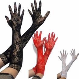 luvas sem dedos crochet livre Desconto Senhoras Meninas Prom Hen Fantasia Lace Elbow Length Gloves Burlesque elegantes empregada doméstica francesa arrastão Lace idade até arco superior de cetim