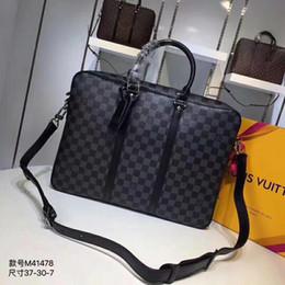 Piccole valigie online-Mens Designer Bag Brand piccola valigetta a quadri in pelle scozzese con tracolla Dimensioni: 37 x 28 x 7 cm M41478