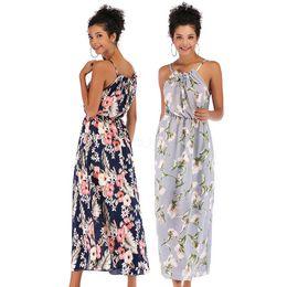 Vestido longo maxi assimétrico on-line-Chiffon Floral Print Spaghetti Strap Maxi Sundress Stylish chiffon Asymmetrical Split Long Dress Women Summer Sleeveless Dresses LJJA2492