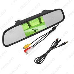 """Carro tft dvd on-line-4.3"""" TFT LCD Car Digital Monitor Retrovisor Com Espelho para inverter DVD Camera Backup / VCD Vídeo 12V / 24V # 4619"""