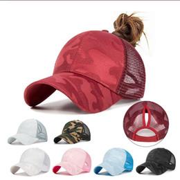 sombreros de moda de verano Rebajas Verano de las mujeres de moda gorra de béisbol moño desordenado Cola de caballo de Hip Hop camuflaje jacquard transpirable malla Snapback ajustable del sombrero