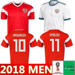 futebol russo Desconto Copa do mundo de 2018 Rússia Camisas De Futebol 2018 copa do mundo Russo Casa uniforme de futebol vermelho # 10 Camisas de Futebol DZAGOEV # 11 SMOLOV