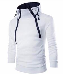 Sudadera con capucha de largo tamaño grande online-Sudadera hombre sudaderas con capucha marca masculina remiendo de manga larga con capucha cremallera blanco y negro gran tamaño vetements