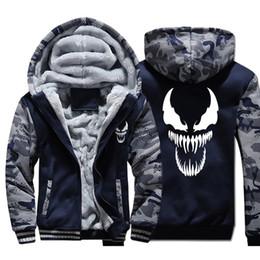 Filme de veneno on-line-Dopshipping Venom Hoodies Homens Filme Night Glow Moletom Com Capuz Casaco Harajuku Inverno Grosso Casaco de Lã EUA Tamanho